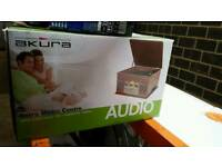 Brand New Boxed Akura Retro Music Centre Antique Wood Turntable CD Cassette Radio £59