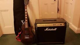 Gibson Les Paul Junior electric guitar (Made in USA, 2013) with Marshall Valvestate 8080 80W amp.