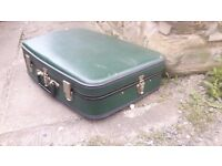 Vintage Retro Dark Green Suitcase Suit Case Luggage Travel Trunk Storage Display Prop