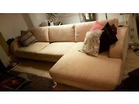 Cream sofa l shaped right chaise *super comfy*