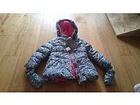 BNWT M&S girls Winter animsl print coat and mittens set 1 1/2- 2 years