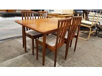 Meredew teak extending table and 4 chairs