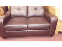 Brown leather button back 2 seater sofa - like new