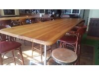 High Top pine plank tables scaffold legs micro pub furniture