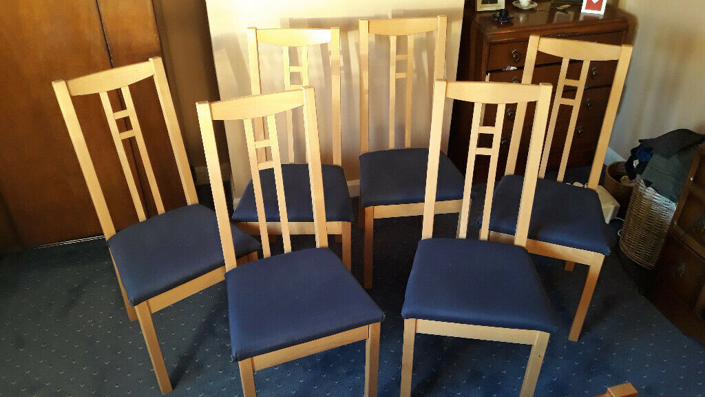 Dining Chairs With Blue Padded Seats