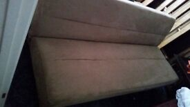 Brown/Beige faux suede Double Sofa Bed