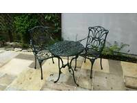 Metal Bistro Garden/Patio Table & 2 Chairs