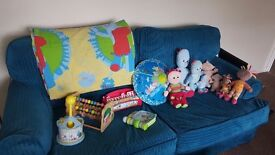 Mixed lot childrens toys Cbeebies train ride on toys bean bag baby guard peppa pig boot sale job lot