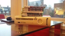 Xbox 360 (original) with 2 controllers, controller charger, 6 games and all cables - used
