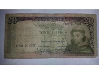 Portugal - 1964 Banco de Portugal 20 Vinte Escudos Ouro Banknote Santo Antonio