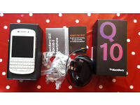 BlackBerry Q10, 16GB, White (Locked to EE) Boxed + Accesories + Spare Battery + Screen Protectors