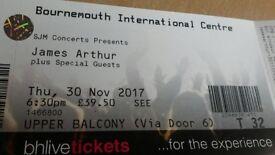 James Arthur Tickets X2 Bournemouth 30th November