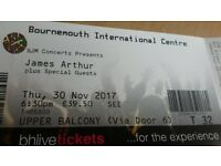 James Arthur Tickets X2 Bournemouth 30th November