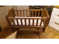 GLIDING CRIB Antique Birch Glider Cot Rocking Baby Bassinet