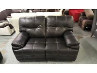 New ScS Axis 2 Seater Electric Recliner Black Leather Sofa **CAN DELIVER**