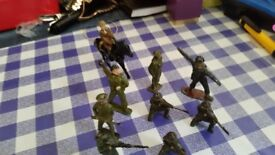 Vintage lead soldiers x 9 different types including horse