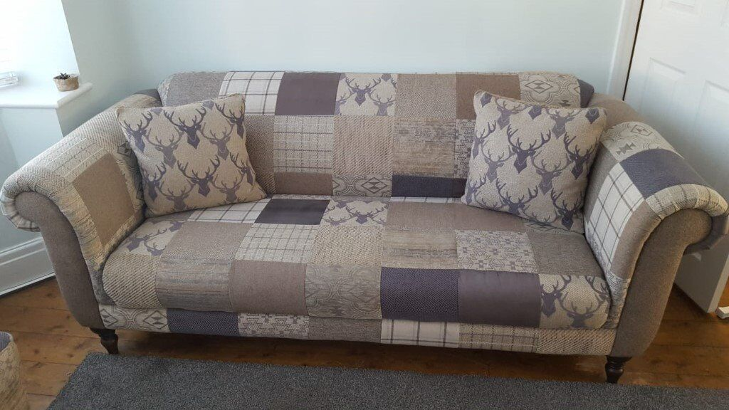 Dfs Maxi Hart Montagu Stag Patchwork 3 Seater Sofa And Two