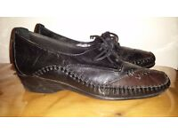 PAVERS Black Lace Up Leather Brogue Visible Stitching Comfy & Stylish Shoes S39