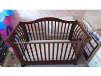 Dark wood Seigh style cot bed with mattress