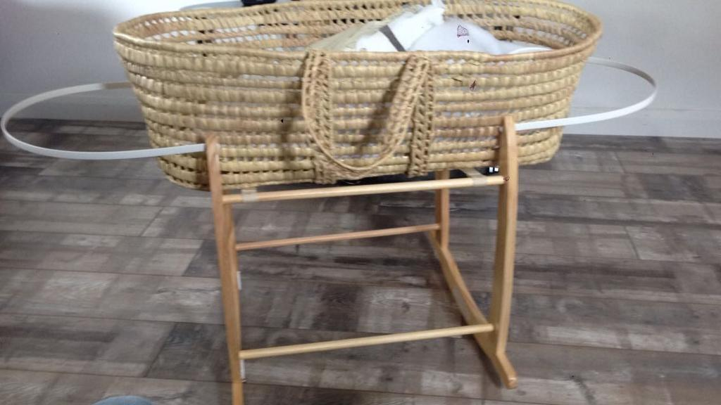 Rocket Moses basket with 2 bed sets and sheets