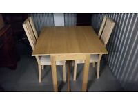 Dining/Kitchen Table (IKEA Bjursta), Extendable with 2 Chairs