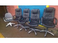 Office Black Leather Look Swivel Chairs for sale