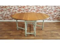 Vintage Very Large Solid Oak Drop Leaf (Gate Leg) Dining Table with Barley Twist Legs
