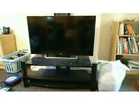 "SEIKI 43"" LED TV + Black glass TV Stand + Panasonic Sound bar"