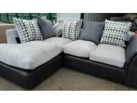 NEW Designer Linear Chenille Fabric Silver Corner Sofa with patterned cushions DELIVERY AVAILABLE