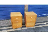 Solid wooden bedside drawers