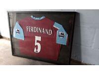 Framed Signed A.Ferdinand & M.Harewood West Ham United Football Shirts