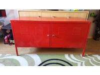 Red metal lockable storage unit