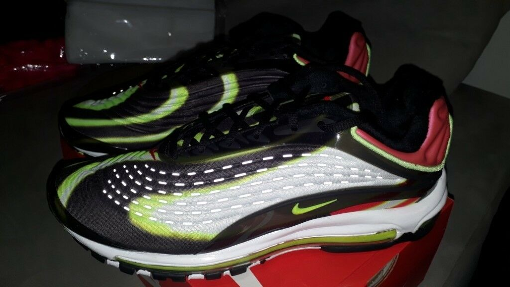b87eda8e7b17 Nike Air Max Deluxe  Black   Habanero Red   White   Volt   Size Uk ...