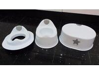 BRAND NEW WHITE LITTLE STAR 3 PIECE TOILET TRAINING SET