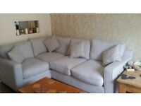 new harveys corner sofa for sale,. duck egg blue with 4 matching cushions..
