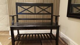 Reliable and solid black wooden bench