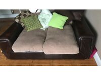 Two large two seater sofas brown