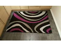 Purple, Grey and Black Rug