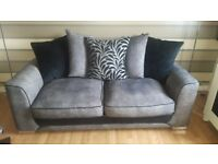 GREY FABRIC 3 SEATER SOFA SCATTER BACK CUSHIONS