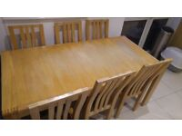 Ercol Bosco Oak Extending Dining table and 6 solid oak dining chairs for sale -Sits up to 10 people