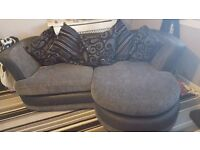 3 SEATER GREY/BLACK CHAISE LOUNGE SOFA AND 2 SEATER CUDDLER SWIVEL CHAIR