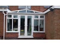 White Upvc Conservatory Blue Self Cleaning Glass Roof Approx 3.6m x 3m dismantled for collection