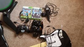 Xbox 360 500g plus rock band hero set 2 controllers charging doc with battery packs 2games