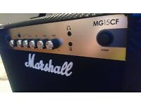 Marshall MG15CF 15W combo guitar amplifier w/ aux in, headphone out