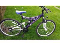 Full suspention mountain bike 26 inch wheel 18 speed nearly new