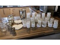 Handmade wedding glass and lace vases and tealight holders, plus mercury glass and plaques