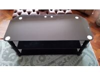 Black Plate Glass Television Table