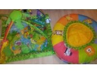 Fisher price rainforest activity play mat and jungle safari play nest ring