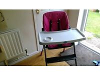 High Chair, 3 reclining options, Chicco, very sturdy and reliable