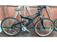 Lightweight Raleigh duel suspension mountain bike. Can deliver